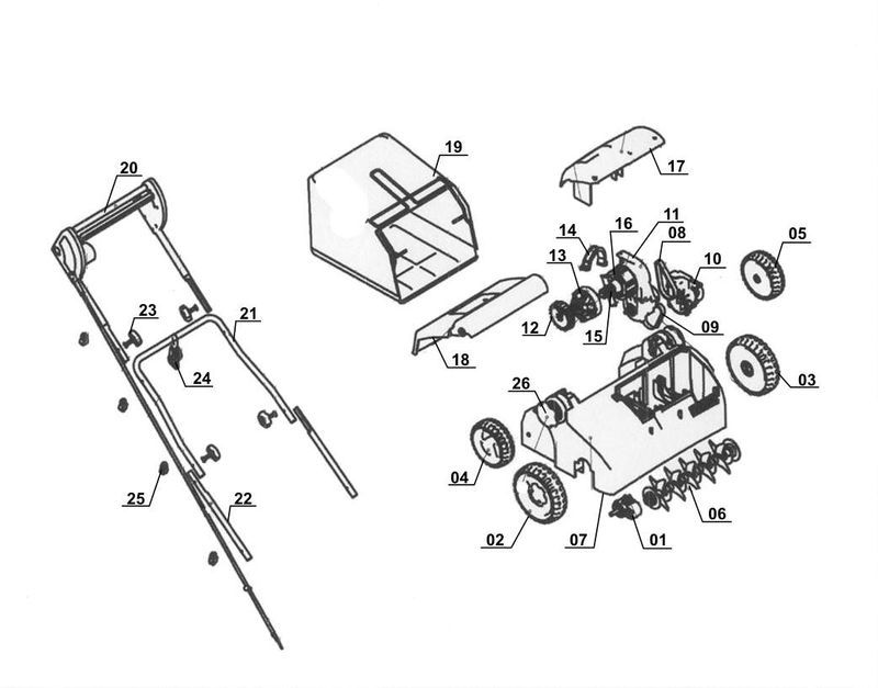 ersatzteile zu tcvk 1402 ex b top craft elektro vertikutierer. Black Bedroom Furniture Sets. Home Design Ideas