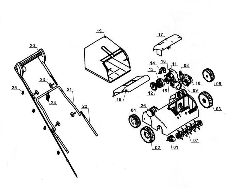 ersatzteile zu tcvk 1403 ex b top craft elektro vertikutierer. Black Bedroom Furniture Sets. Home Design Ideas