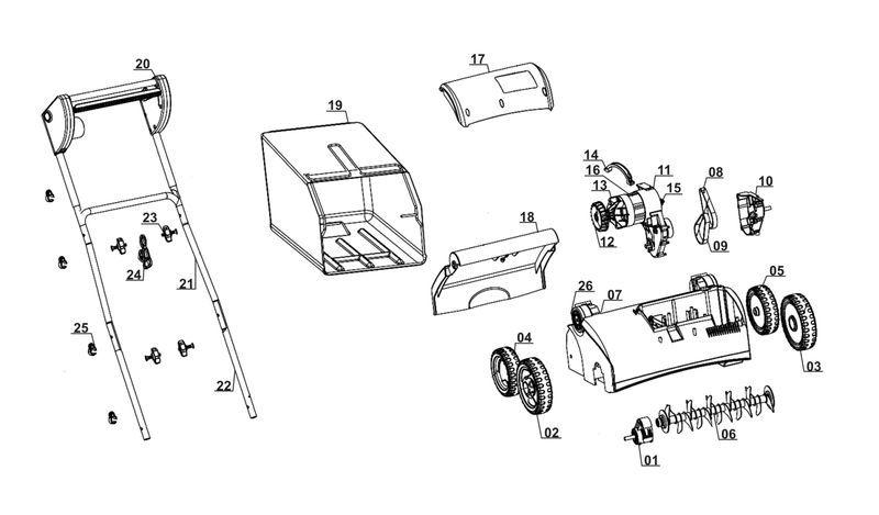 ersatzteile zu glvk 1407 gardenline elektro vertikutierer. Black Bedroom Furniture Sets. Home Design Ideas