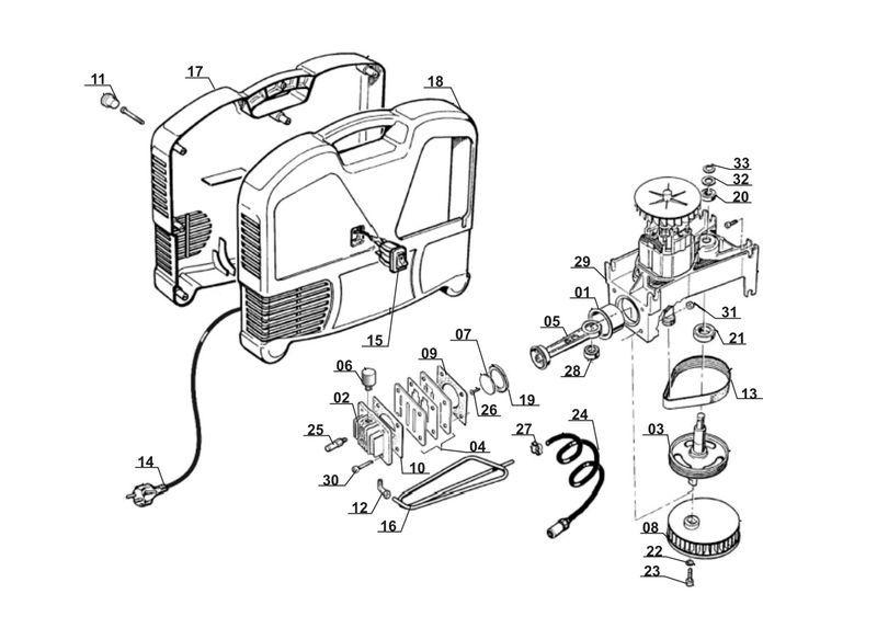 ersatzteile zu kck 180 1 set king craft kompressor. Black Bedroom Furniture Sets. Home Design Ideas