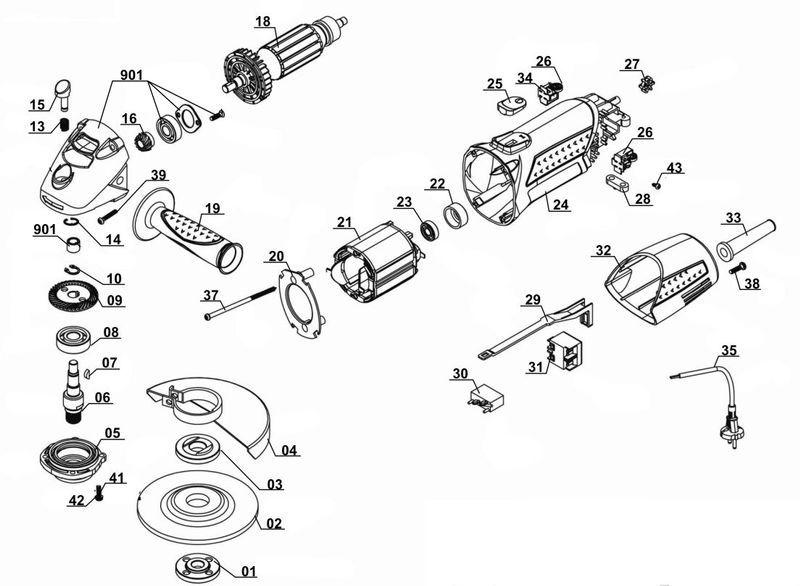 Ersatzteile zu WS 125/850-1 - Alpha Tools Winkelschleifer