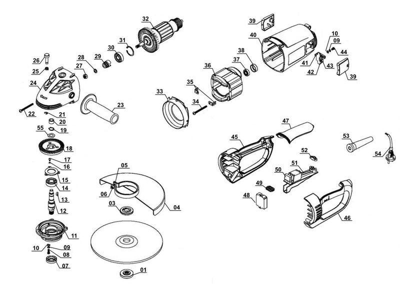 Ersatzteile zu WS 230/4 Set - Alpha Tools Winkelschleifer-Set
