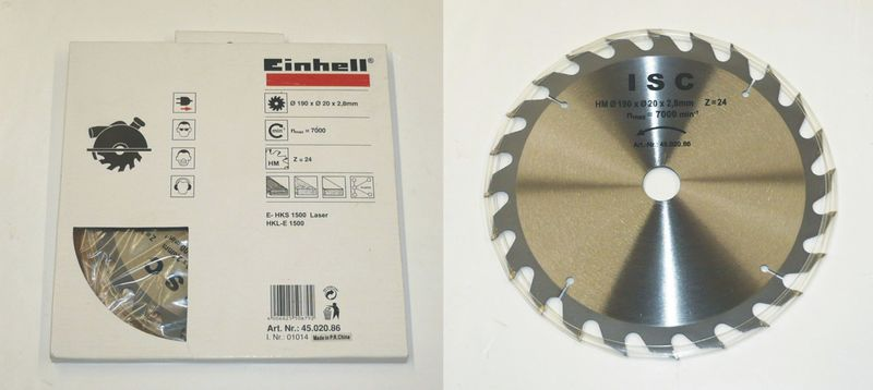Productimage Circular Saw Accessory TCT saw blade 190x20x2.8mm 24T
