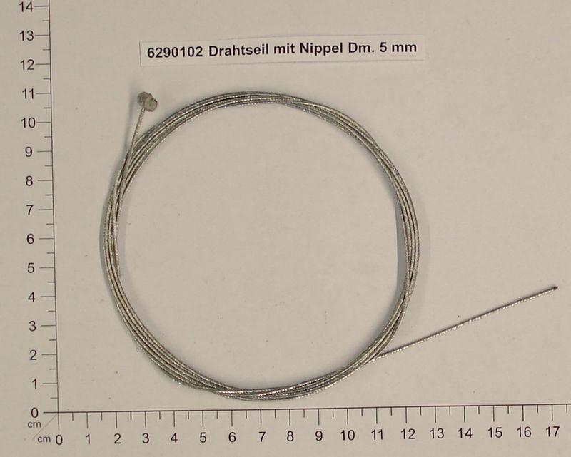 Productimage  Drahtseil mit Nippel Dm. 5 mm