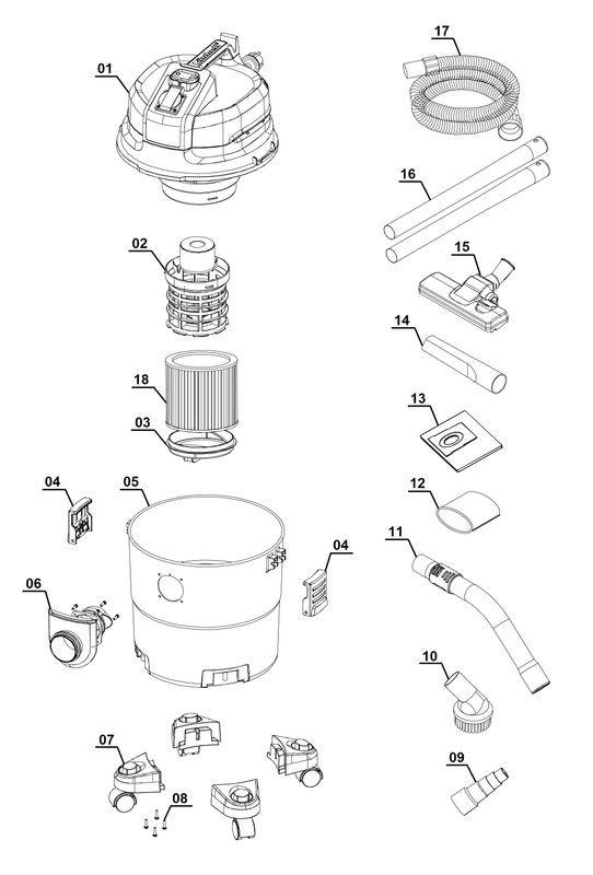 ersatzteile zu tc nts 20 a ex fr top craft nass trockensauger. Black Bedroom Furniture Sets. Home Design Ideas