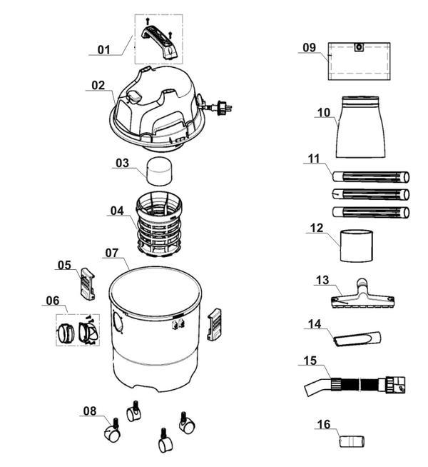 Ricambi Aspirasolidi e liquidi TH-VC 1815
