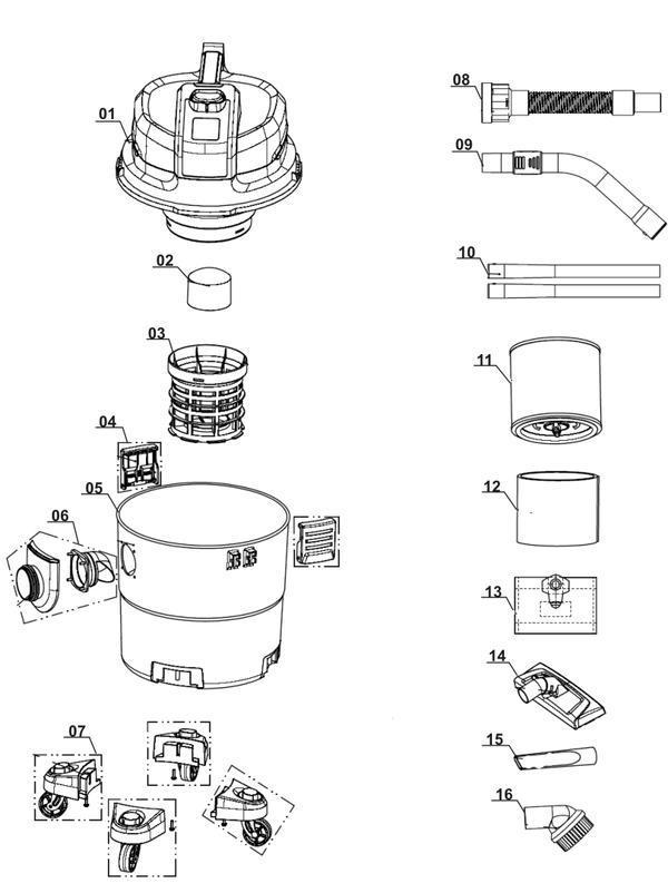 Ersatzteile Nass-Trockensauger TE-VC 1820