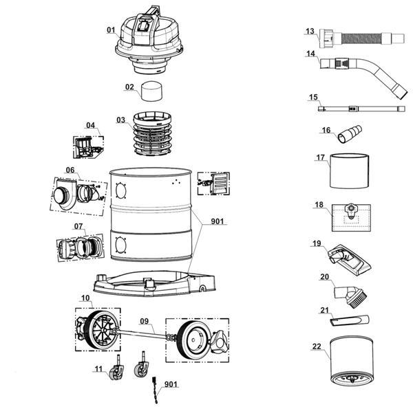 Ricambi Aspirasolidi e liquidi TE-VC 1925 SA