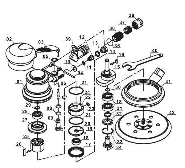 Ricambi Levigatrice rotorbitale pneumatica DSE 125