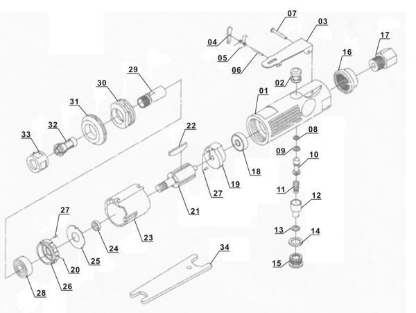 Tartalék alkatrészek Sűrített levegős egyenes csiszoló (pn.) DSL 250/2