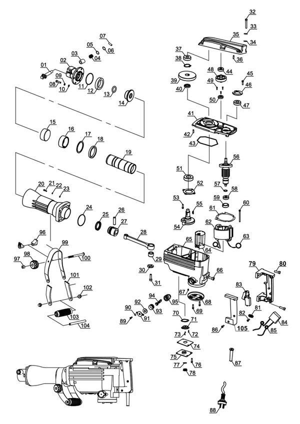 Tartalék alkatrészek Bontókalapács BT-DH 1600/1