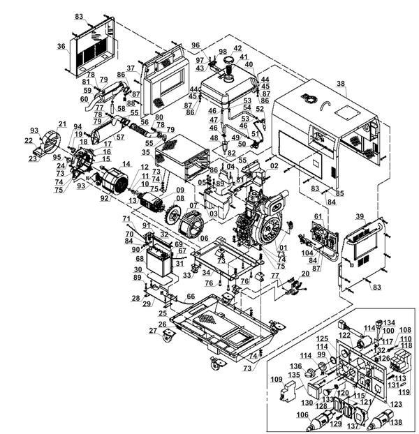 Refacciones Generador diesel BT-PG 5000 DD