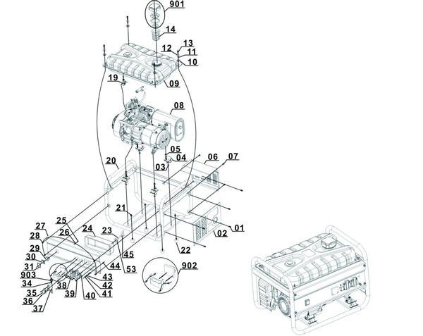 Refacciones Generador gasolina BT-PG 2800/1