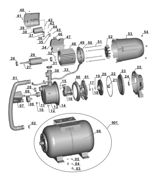 Refacciones Hidrofor BG-WW 1140 NN