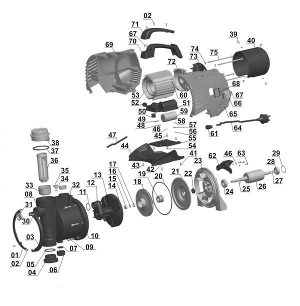 Refacciones Pompa gradina GE-GP 5537 E