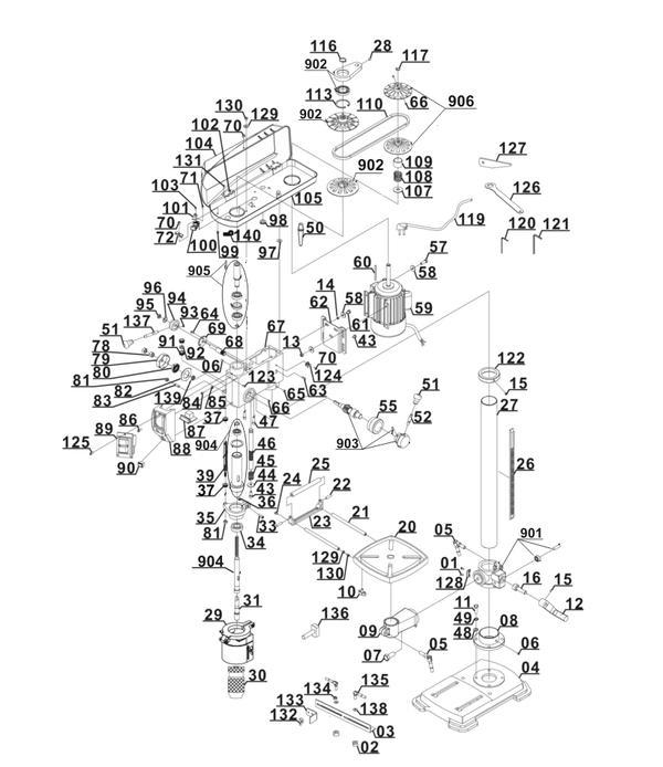 Ersatzteile Säulenbohrmaschine BT-BD 801 E