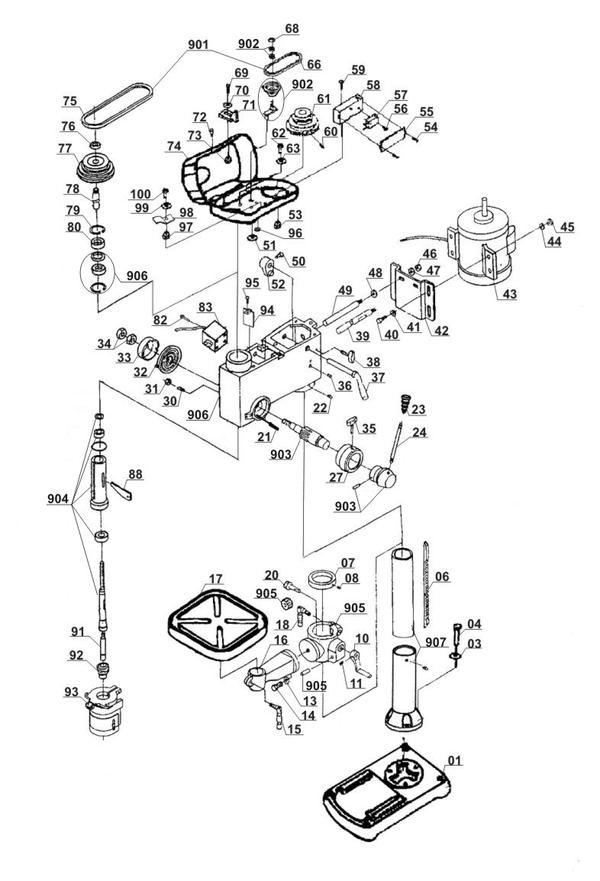Tartalék alkatrészek Állványos fúrógép BT-BD 1020
