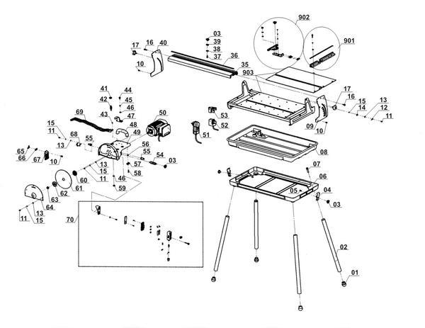 Tartalék alkatrészek Radiális csempevágó gép RT-TC 520 U