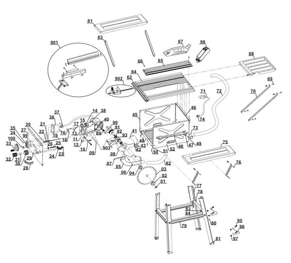 Ersatzteile Tischkreissäge RT-TS 1725/1 U