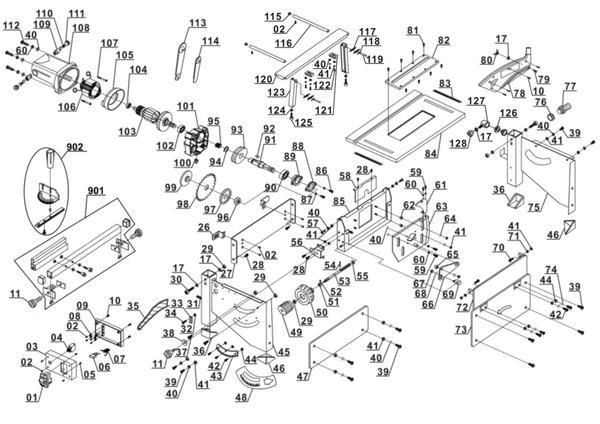 Ersatzteile Tischkreissäge RT-TS 1221