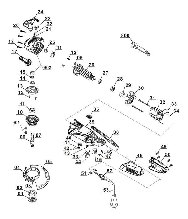 Refacciones Amoladora TE-AG 115