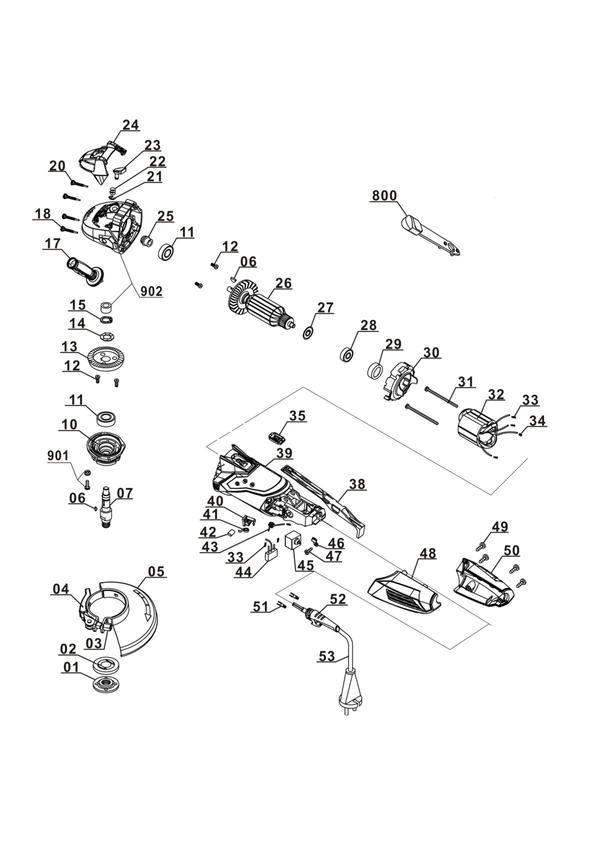 Spareparts Angle Grinder TE-AG 125/750
