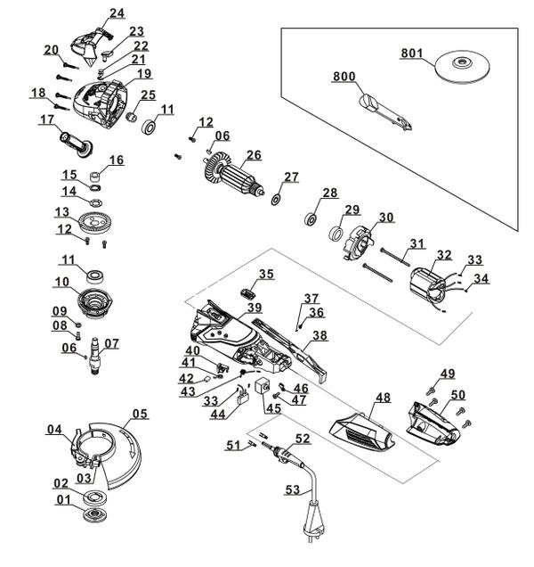 Ricambi Smerigliatrice angolare TE-AG 125/750 Kit