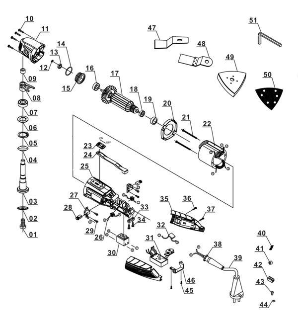 Ersatzteile Multifunktionswerkzeug BT-MG 220 E