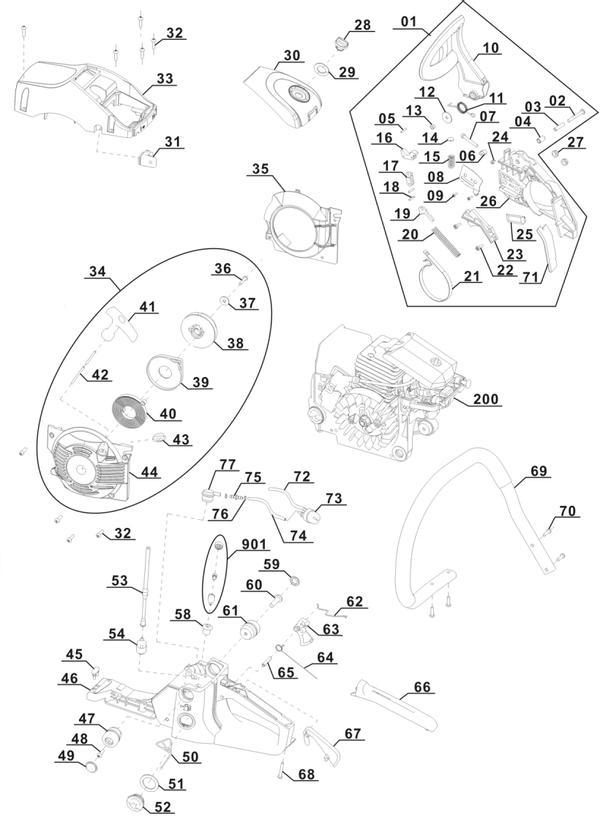 Refacciones Motosierra gasolina BG-PC 2245
