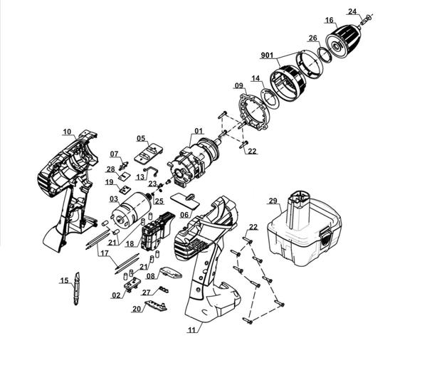 Ersatzteile Akku-Bohrschrauber RT-CD 14,4/1