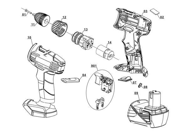 Ersatzteile Akku-Bohrschrauber TH-CD 12