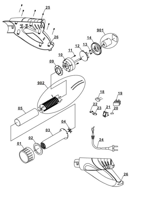 Tartalék alkatrészek Hőlégfúvó pisztoly BT-HA 2000/1