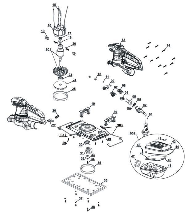 Tartalék alkatrészek Rezgőcsiszoló TE-OS 2520 E