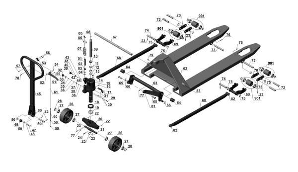 Tartalék alkatrészek Raklapemelő BT-PT 2500