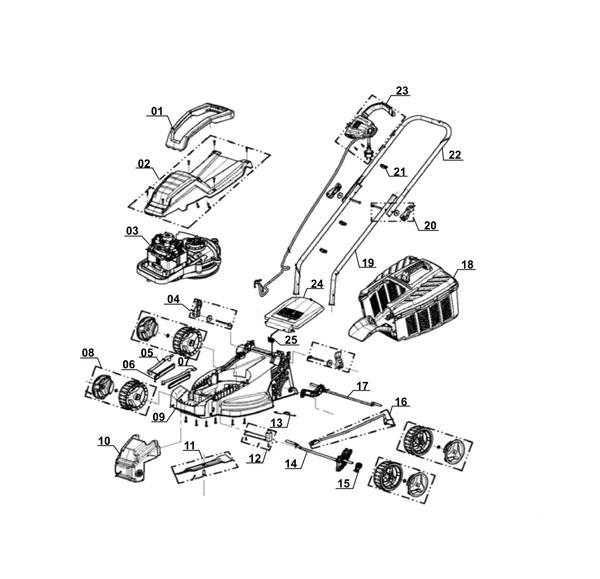 Ersatzteile Elektro-Rasenmäher GE-EM 1233