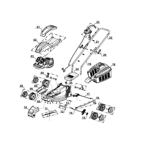 Refacciones Cortacésped eléctricos GE-EM 1233