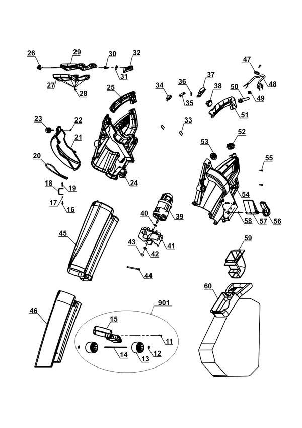 Refacciones Aspirador soplador eléctrico GC-EL 2600 E