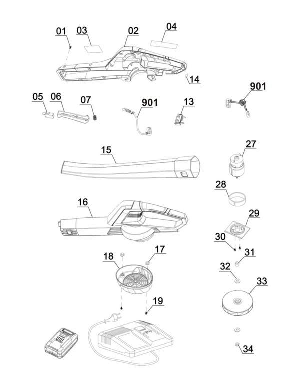Spareparts Cordless Leaf Blower GE-CL 18 Li Kit