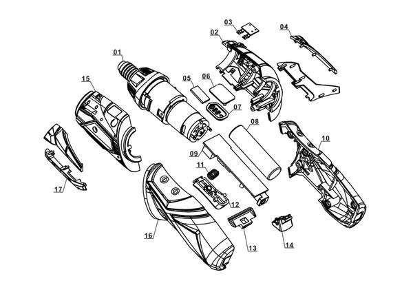 Spareparts Cordless Screwdriver RT-SD 3,6/2 Li Kit