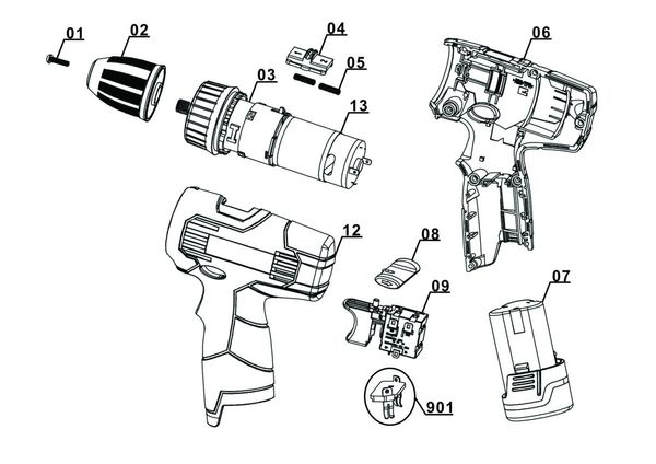 Peças de reposição Cordless Drill TH-CD 12-2 Li