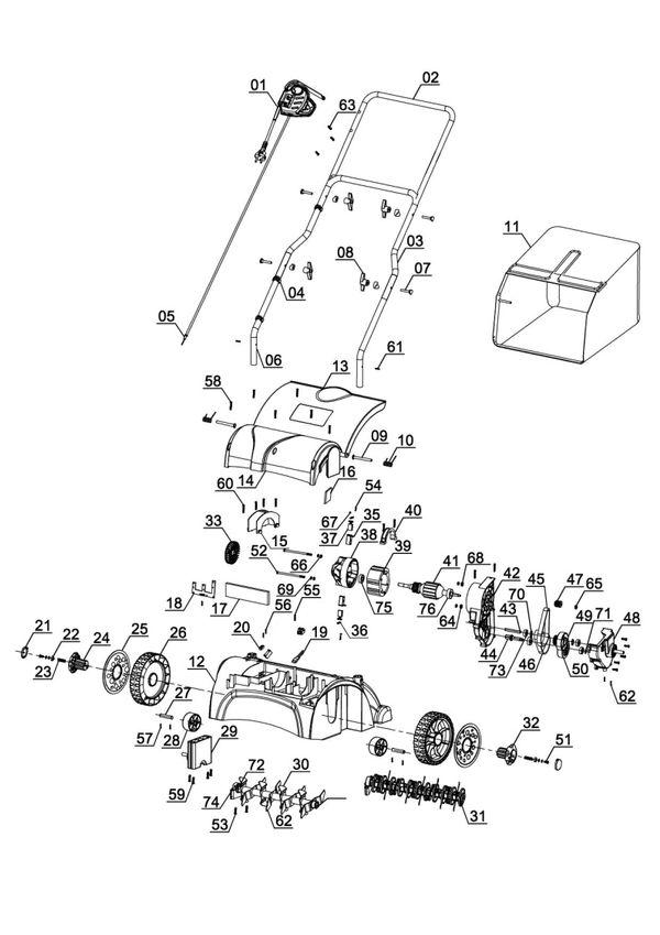 Refacciones Escarificador-aireador eléctrico GC-SA 1231