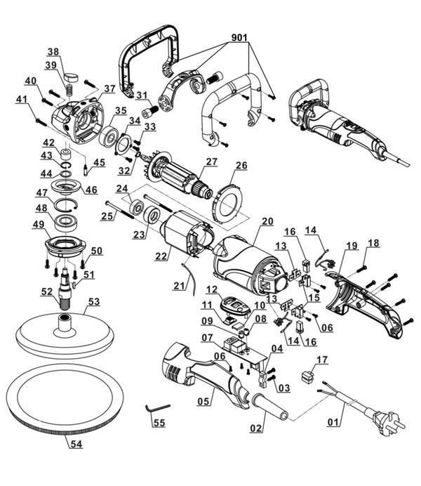 Ersatzteile Winkelpolierer BT-PO 1100/2 E