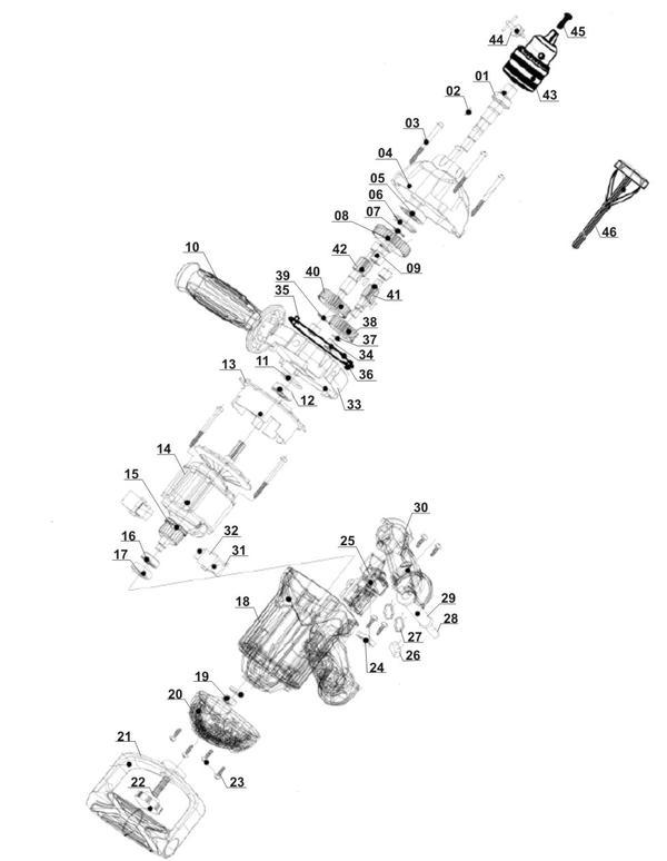 Spareparts Paint/Mortar Mixer TC-MX 1100 E