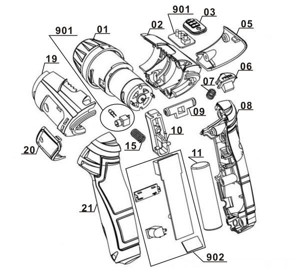 Spareparts Cordless Screwdriver TC-SD 3,6 Li
