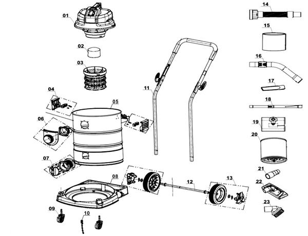 Ricambi Aspirasolidi e liquidi TE-VC 2340 SA