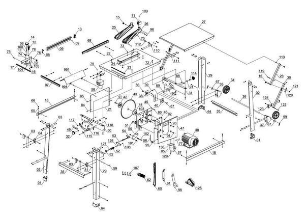Ersatzteile Tischkreissäge TE-TS 2831 UD