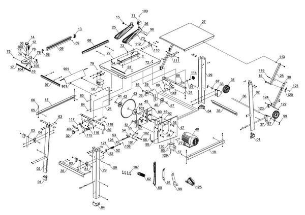 Ersatzteile Tischkreissäge TE-TS 2231 U