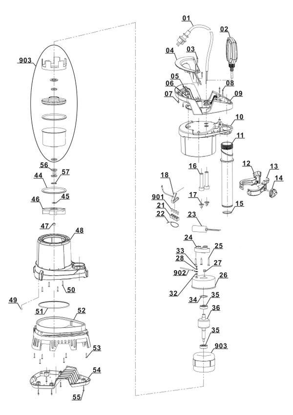 Ersatzteile Schmutzwasserpumpe GE-DP 3925 ECO