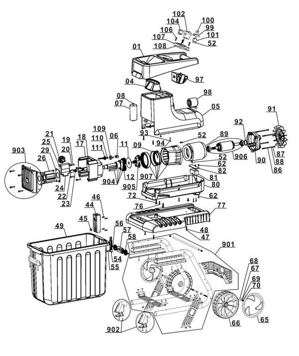 Tartalék alkatrészek Elektromos aprítógép GC-RS 2845 CB