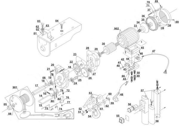 Refacciones Polipasto eléctrico BT-EH 250